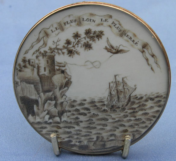 """Le Plus Loin Le Plus Serre"" – ""The further the distance the tighter the knot"", sepia miniature."
