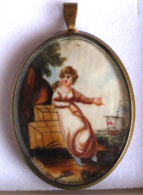 Watercolour Pendant 19th Century Ship